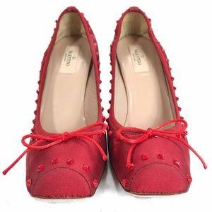 VALENTINO Red Nylon Ballet Rockstud Stilettos - 10